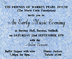 Ticket for the Arden Consort at Barston Hall